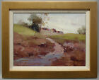 Framed plein air oil painting of country side landscape in gold