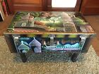 UNIQUE ANTIQUE RUSSIAN ART PAINTED METAL CHEST TRUNK SIDE TABLE COFFEE TABLE