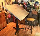Antique Industrial Cast Iron Adjustable Drafting / Drawing Table Steampunk
