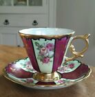 VTG Royal Sealy Burgundy gold luster with roses footed teacup and saucer Japan