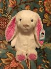 NWT Jellycat bashful bunny Medium Cream White Pink Dot RARE Rabbit Plush