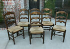 Antique French Dark Oak Ladder Back Chairs Rush Seats Farmhouse Table SET of 6