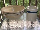 Vintage Country Primitive Blue Cobalt Band Ribbed Stoneware Mixing Bowl + Crock