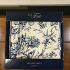 4 NIB New 222 Fifth Adelaide Blue and White Bird Floral Square Salad Plates