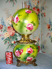 1900 Victorian GWTW Parlor Banquet Lamp ROSES Fostoria Consolidated Antique