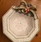 Fitz & Floyd Classic Snowy Woods Octagonal Canape Plate Discontinued