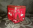 Red Flamingo Container Tin Made in Holland Lidded Asian Theme Gold Vintage