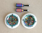 DIS 100mm Oil Slicks Scooter Wheels and Pegs Set 2 wheels + 2 pegs + 2 axles