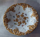 Meissen Porcelain Fruit Bowl Plate Rococo Embossed Gold In High Relief Superb