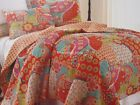 MOROCCAN 3pc F/QUEEN Quilt SET Orange Yellow Teal Green Fuchsia FLORAL TROPICAL
