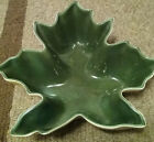 Vintage Red Wing Pottery Maple Leaf Dish Green w/yellow #429 Leaf no chips