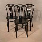 Antique Set of 3 Bentwood Kitchen Dining Cafe Chairs in Black Thonet Type 20th C