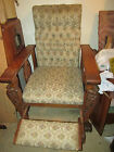 VINTAGE / ANTIQUE UPHOLSTERED CARVED OAK WOOD RECLINER CHAIR W/ FOOT REST