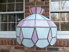 VINTAGE LEADED GLASS TIFFANY STYLE HANGING SWAG LAMP PINK  WHITE