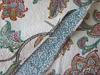 JACOBEAN FLORAL 3pc FULL/QUEEN Quilt SET Blue Teal Brown Magenta Gray FRENCH NEW