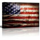 Canvas Wall Art Prints Closeup of Grunge American Flag Vintage Retro 24 x 36