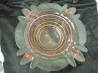 Unusual vintage glass bowl with hand painted Cherries and rings Petal edge