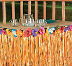 Natural Tan Grass Hibiscus Table Skirt TROPICAL Luau Beach POOL Party Decoration