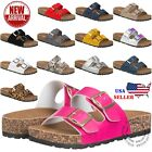 NEW Womens Slide Buckle T Strap Cork Footbed Platform Flip Flop Shoes Sandals
