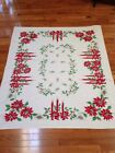 Vintage Christmas Tablecloth POINSETTIA CANDLES PINE CONES 53 X 60