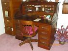 YAWMAN AND ERBE OAK ROLLTOP DESK + CHAIR , numbered 20303