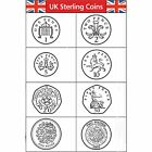 UK Sterling Currency Coin Rubber Stamps Set of 8 22mm 100k impresions