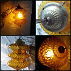 Vintage Mid Century Gothic UFO Amber Ribbed Optic Glass Hanging Swag Lamp Light