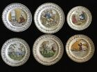 Set Of Six Antique Lot 1887 Polychrome Robinson Crusoe ABC Plates