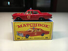 Old Vtg Matchbox Lesney Diecast No 59 Ford Galaxie Fire Chief Car Toy With Box
