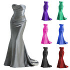 Silver satin Beaded Evening Prom Dress Party Formal Gown Wedding Gown Size2 16