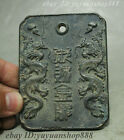 Old Folk Chinese Dynasty Bronze 2 Dragon Royal gold medal Waist Tag Medal Token