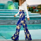 Women Sexy Loose High Waist Wide Leg Long palazzo pants Vintage Floral Trousers