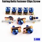 10PCS Motorcycle M5 5mm Fairing Bolts Fastener Clips Screw Spring Nuts Blue