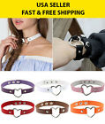 Punk Goth Rivet Handmade Chain Leather O Ring Heart Collar Choker Necklace