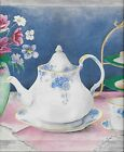 Elegant Tea Time Teapots Cups and Saucers Flowers on Blue WALLPAPER BORDER