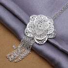 Hot 925 Silver Plated Big Flower Pendant Necklace 18 inch NF