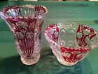 Bleikristall Anna Hutte 24% Lead Crystal RUBY RED Accent Pedestal Bowl
