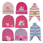 Girls Disney & Peppa Pig Themed Cute Winter Knitted Beanie Hat with Bobble Set
