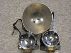 3 Justrite Carbide Miner Lamps 2 Head Straps 1 Hand Held with Large Lens NR