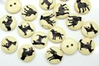 Lot of 10 DOG 2 hole Wooden Button 5 8 15mm Scrapbook Doll Crafts 9044