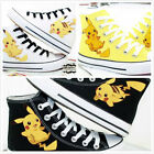 Anime Pokemon Pocket Pikachu Yellow Hand printed Casual Csoplay Canvas Shoes
