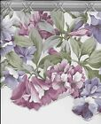 Tropical Purple Flowers with Grey Architectural Trim Sculptured WALLPAPER BORDER