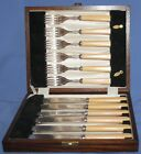 VINTAGE SET 12 SILVER PLATED EPNS DINING FLATWARE FORKS AND KNIVES WITH BOX