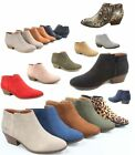 Womens Low Chunky Heel Zipper Almond Toe Ankle Booties Shoes Size 55 11 NEW