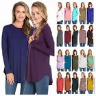 USA Womens Casual Long Sleeve Scallop Hem Tunic Top Dress Scoop Neck T Shirts