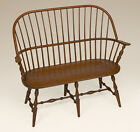 Sack Back Windsor Bench - Settee - Cherry Wood - Antique Style - Furniture