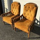 vintage pair custom cane back armchairs by THOMASVILLE