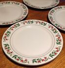 Gibson Everyday Christmas Charm Holly Berries DINNER PLATES Set of 4