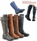 Womens Buckle Quilted Zipper Round Toe Knee High Low Heel Boots SZ 55 11 NEW