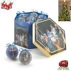 12 Ball Christmas Ornaments Nativity Hanging Tree Home Decor Round Winter Set